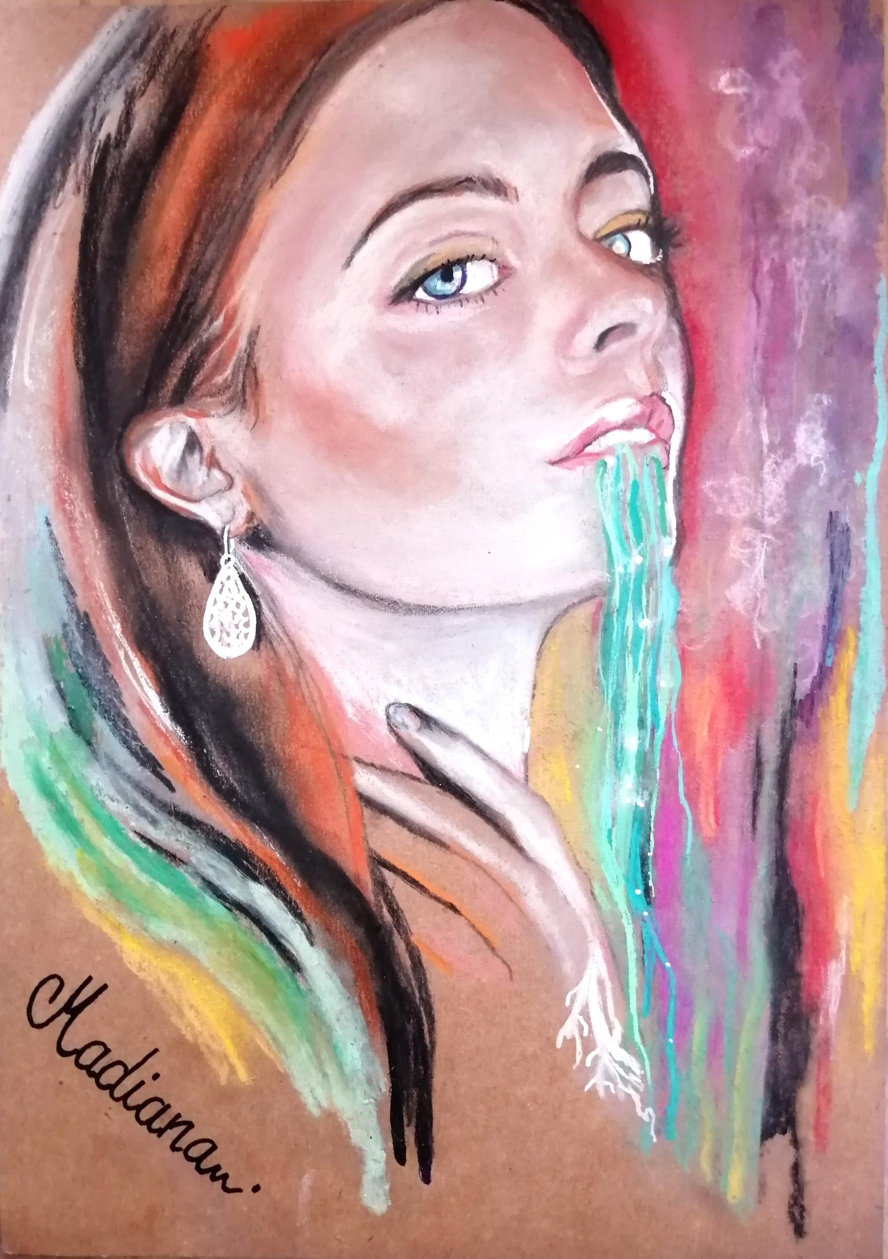 affiche art contemporain portrait femme multicolore boomerang