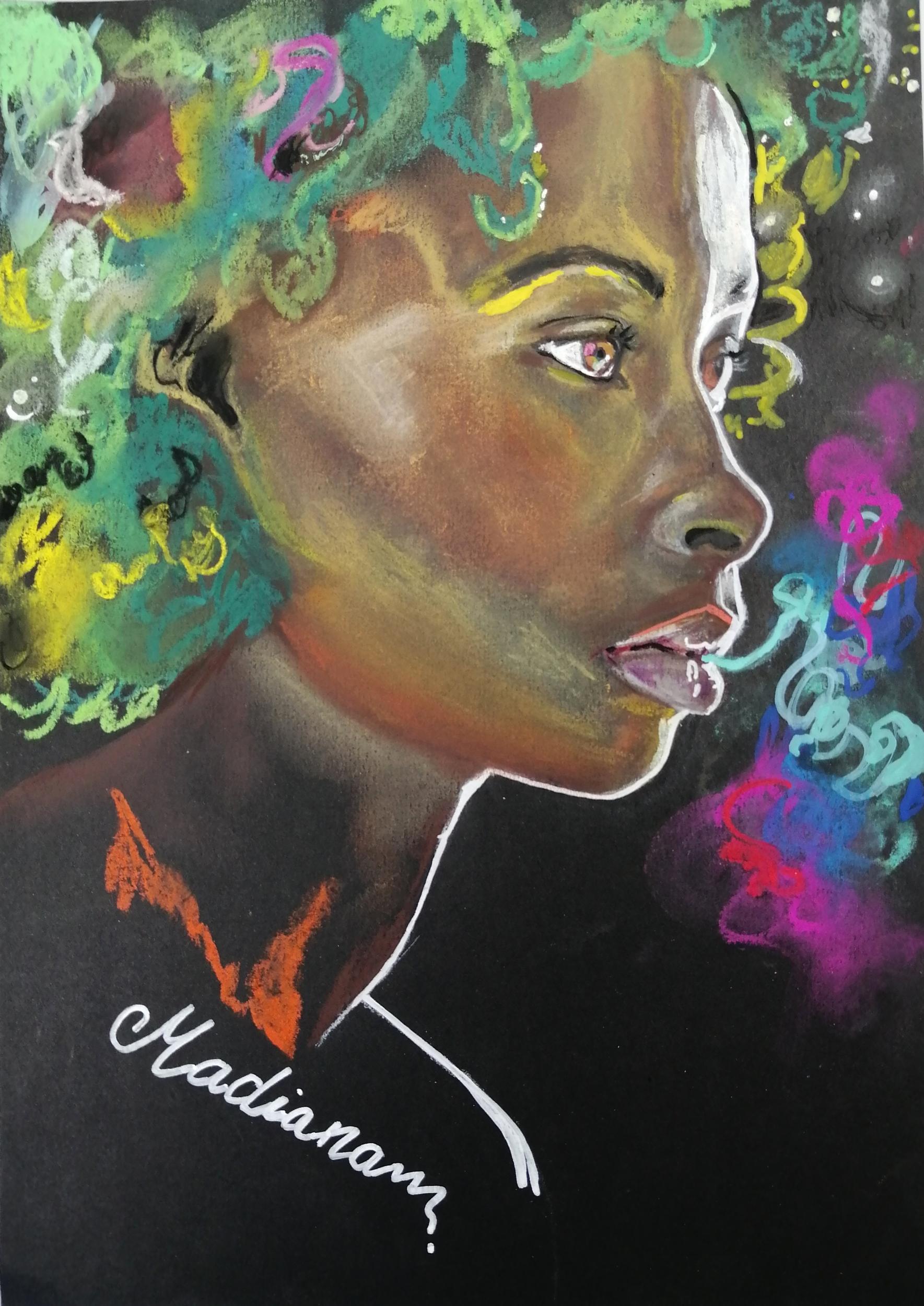dessin art contemporain femme noire multicolore
