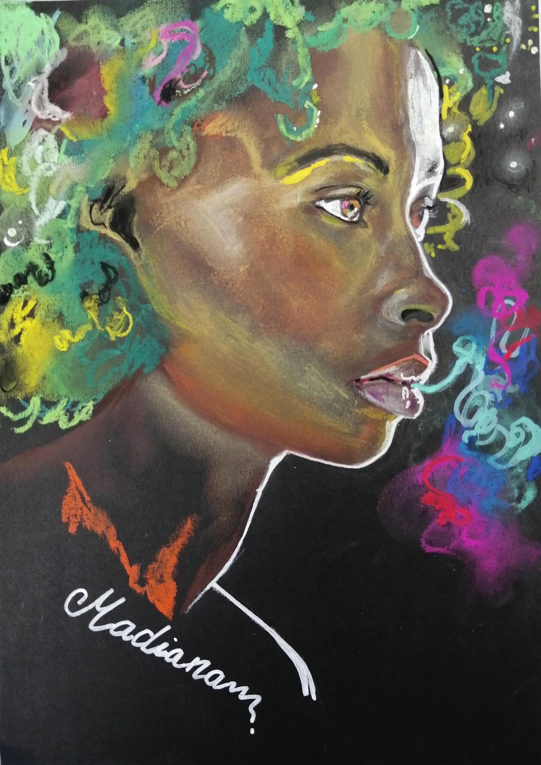 reproduction sur toile art contemporain femme noire multicolore