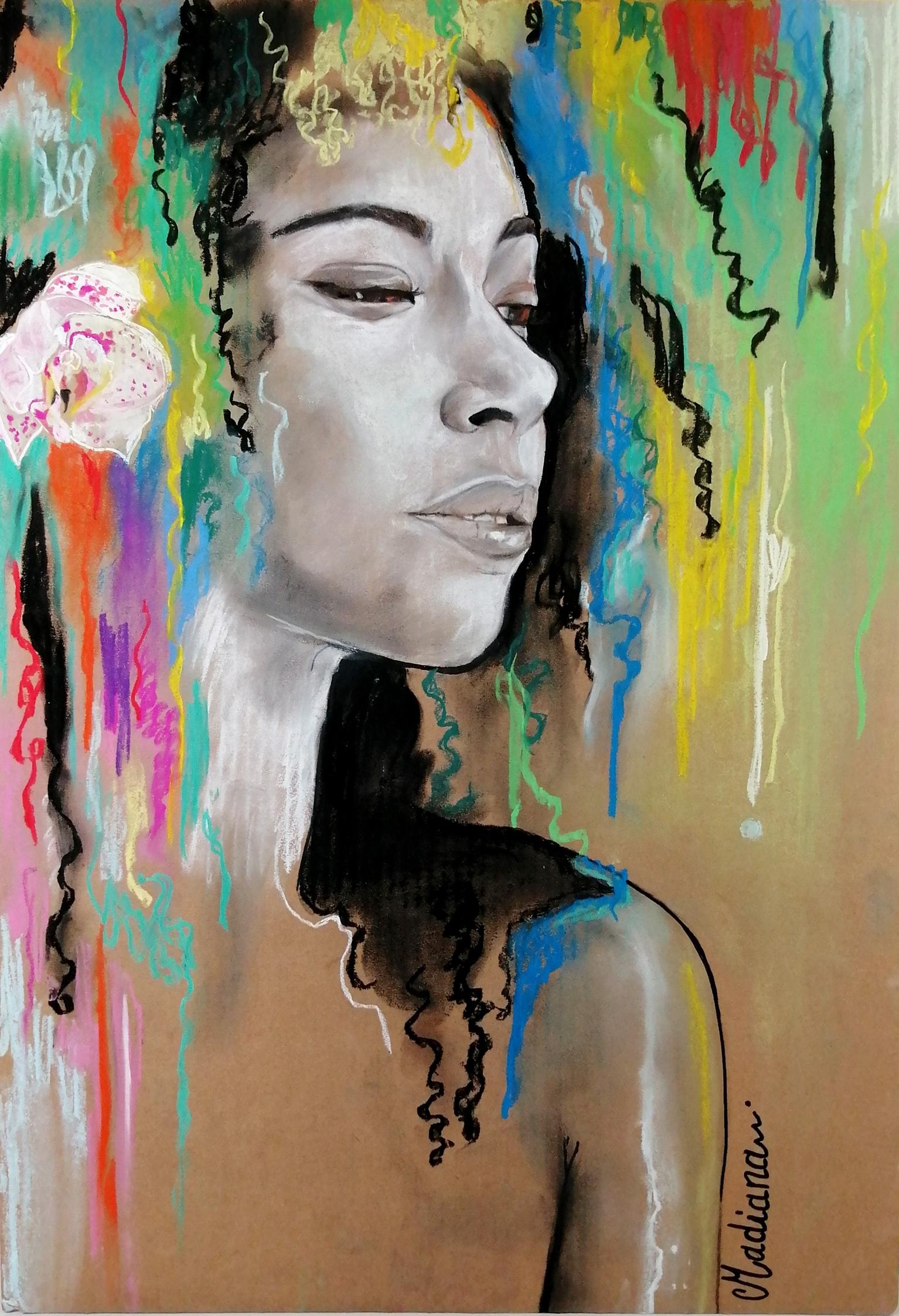 reproduction sur toile art contemporain artiste noir et blanc multicolore femme portrait