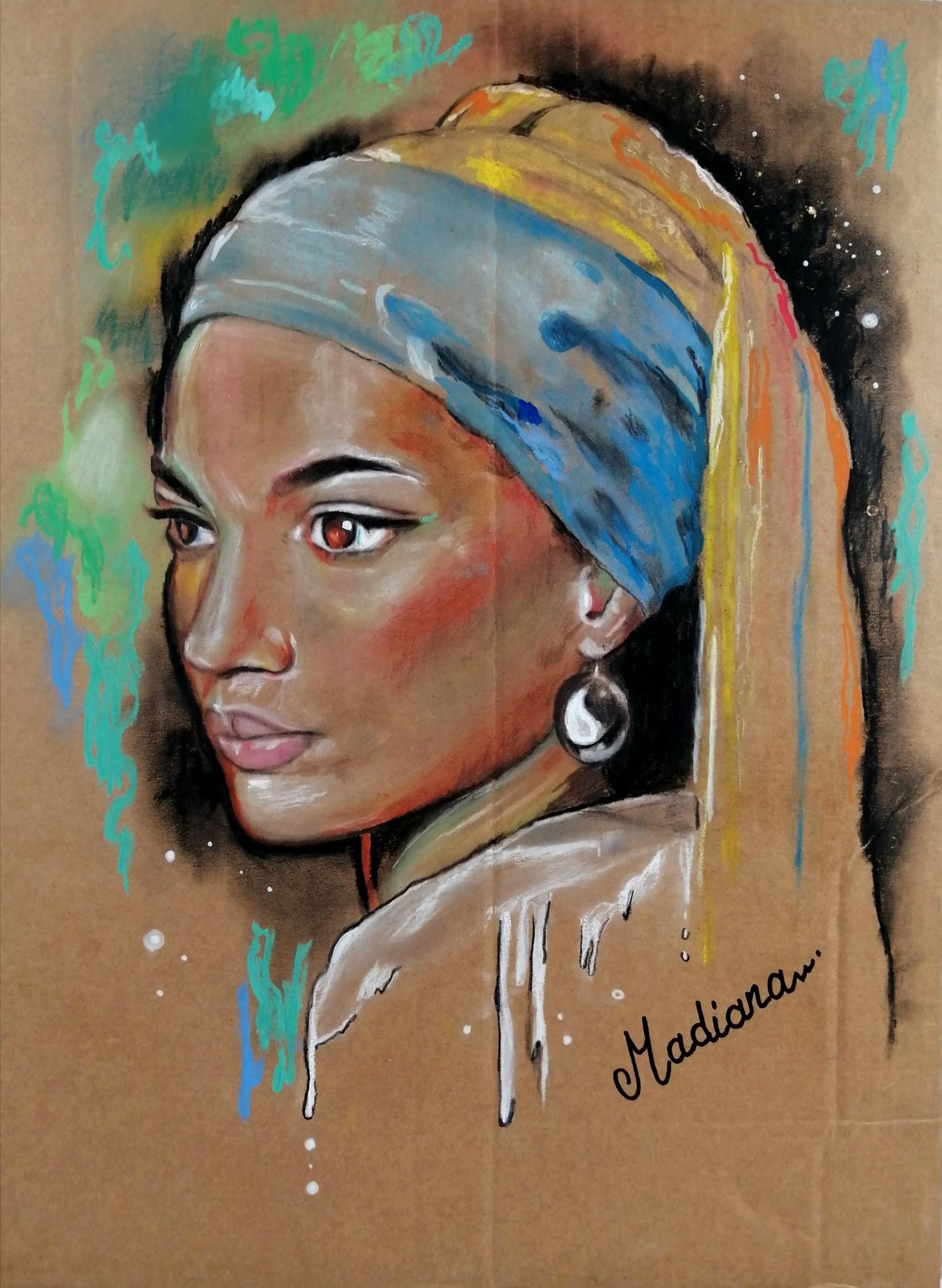 reproduction sur toile art contemporain femme noire afrique espace univers