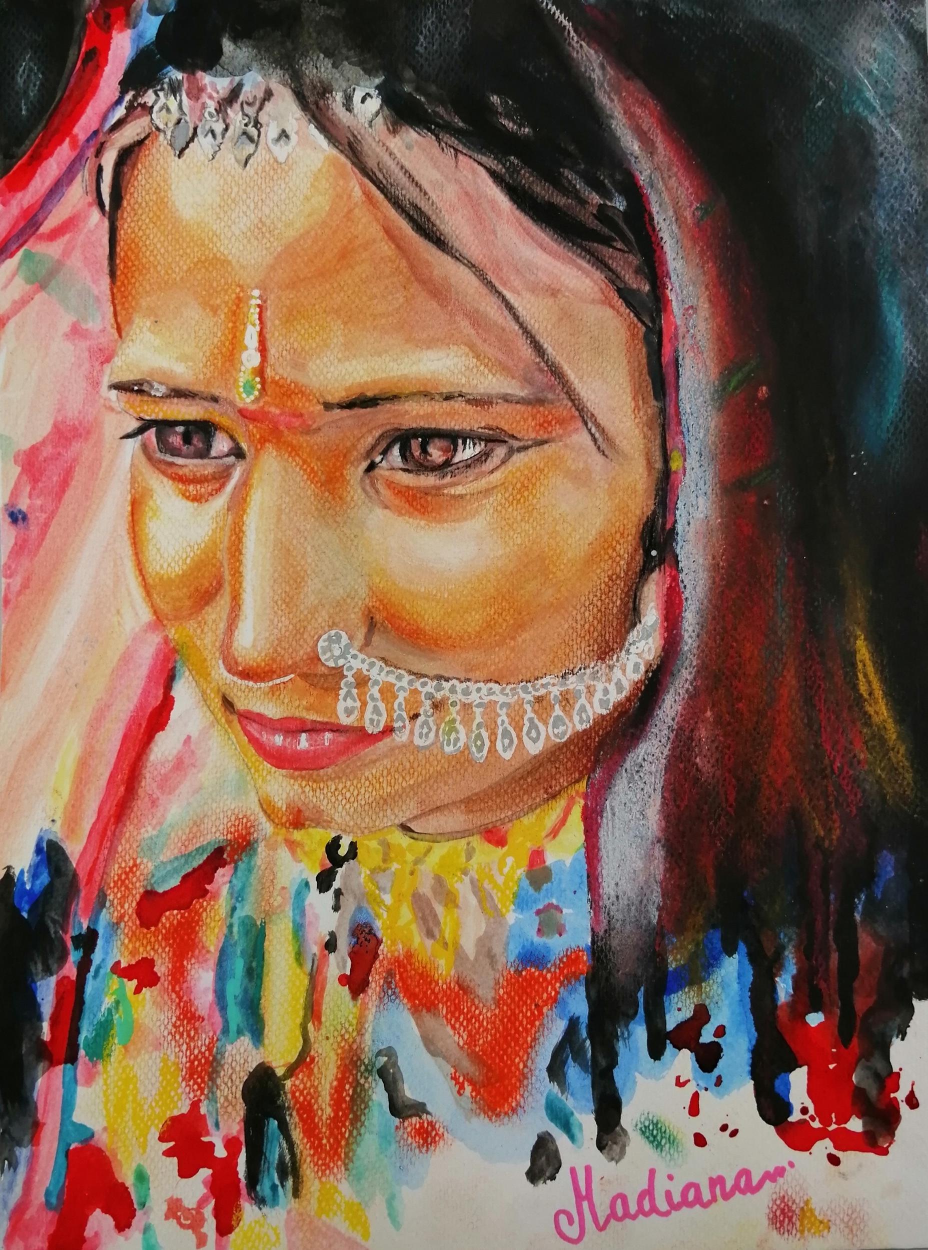 reproduction sur toile artiste indienne multicolore fusain pastel aquarelle