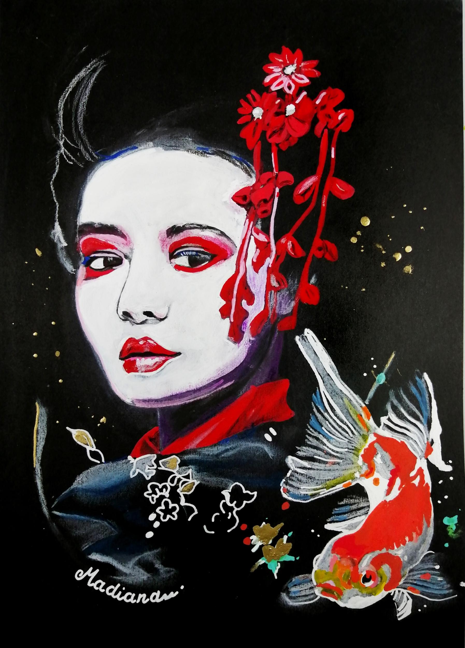 reproduction sur toile femme geisha carpe koï street art fusain