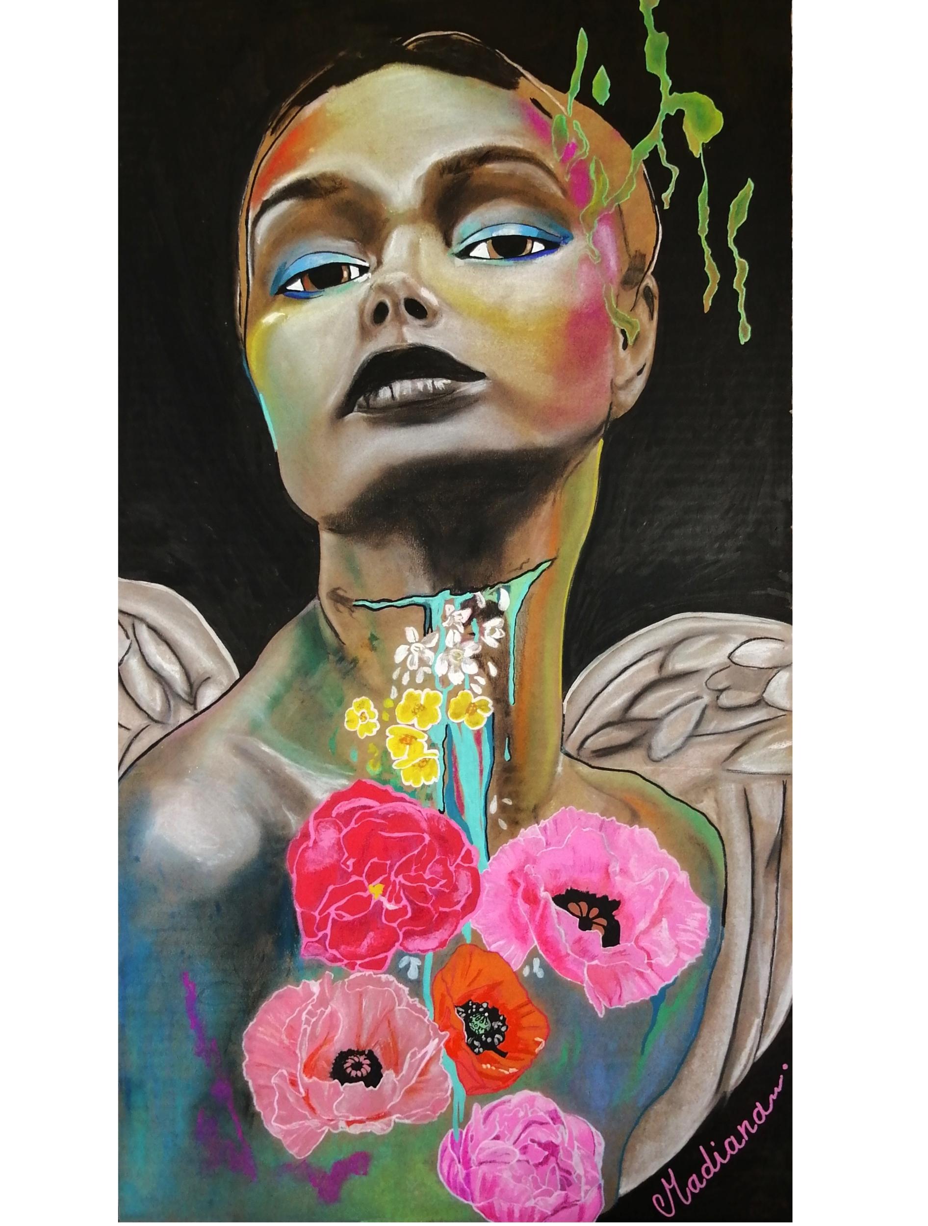 affiche reproduction art contemporain ange fleurs nature street multicolore SITE