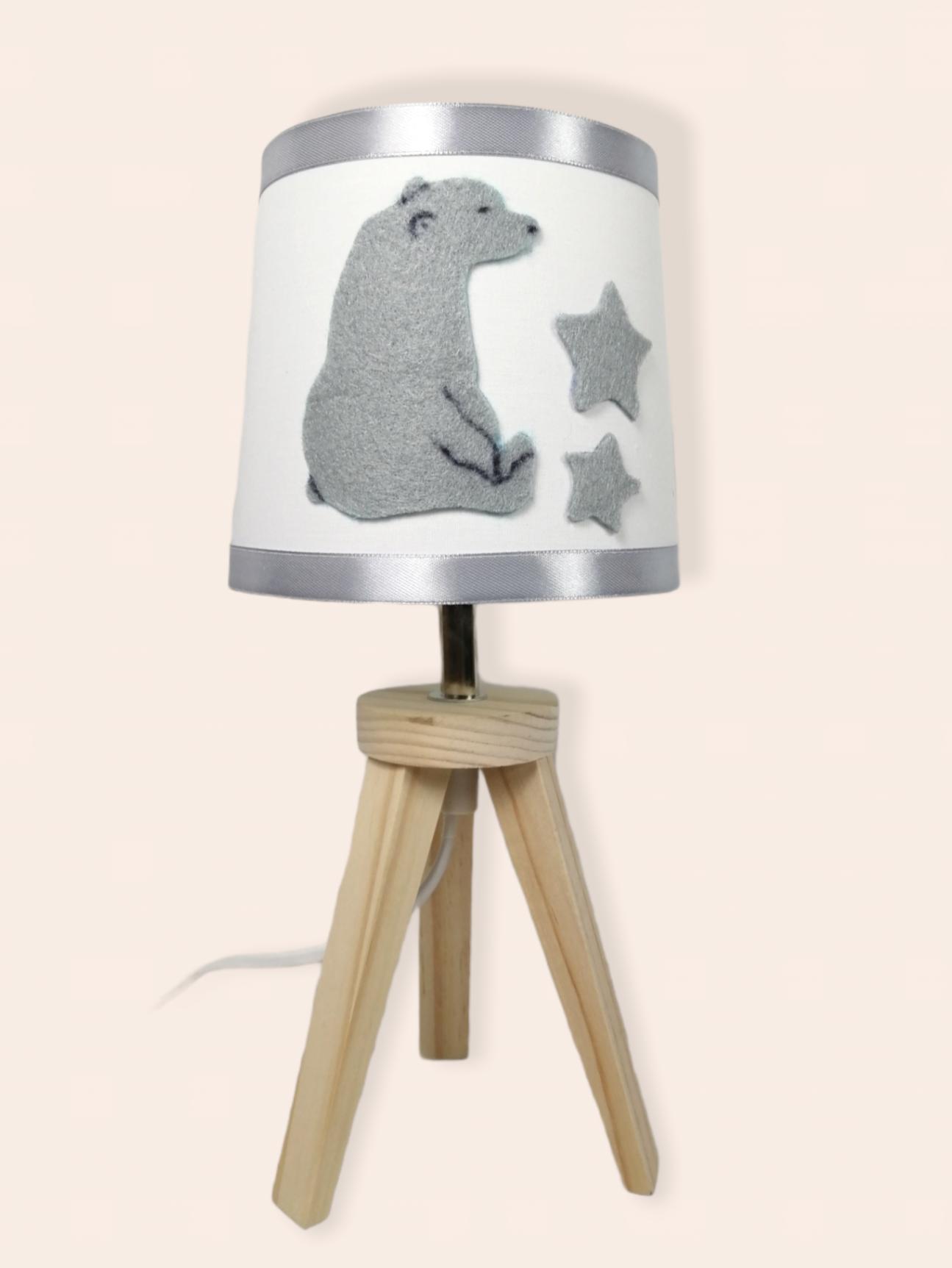 lampe de chevet enfant bébé ours polaire mixte blanc gris