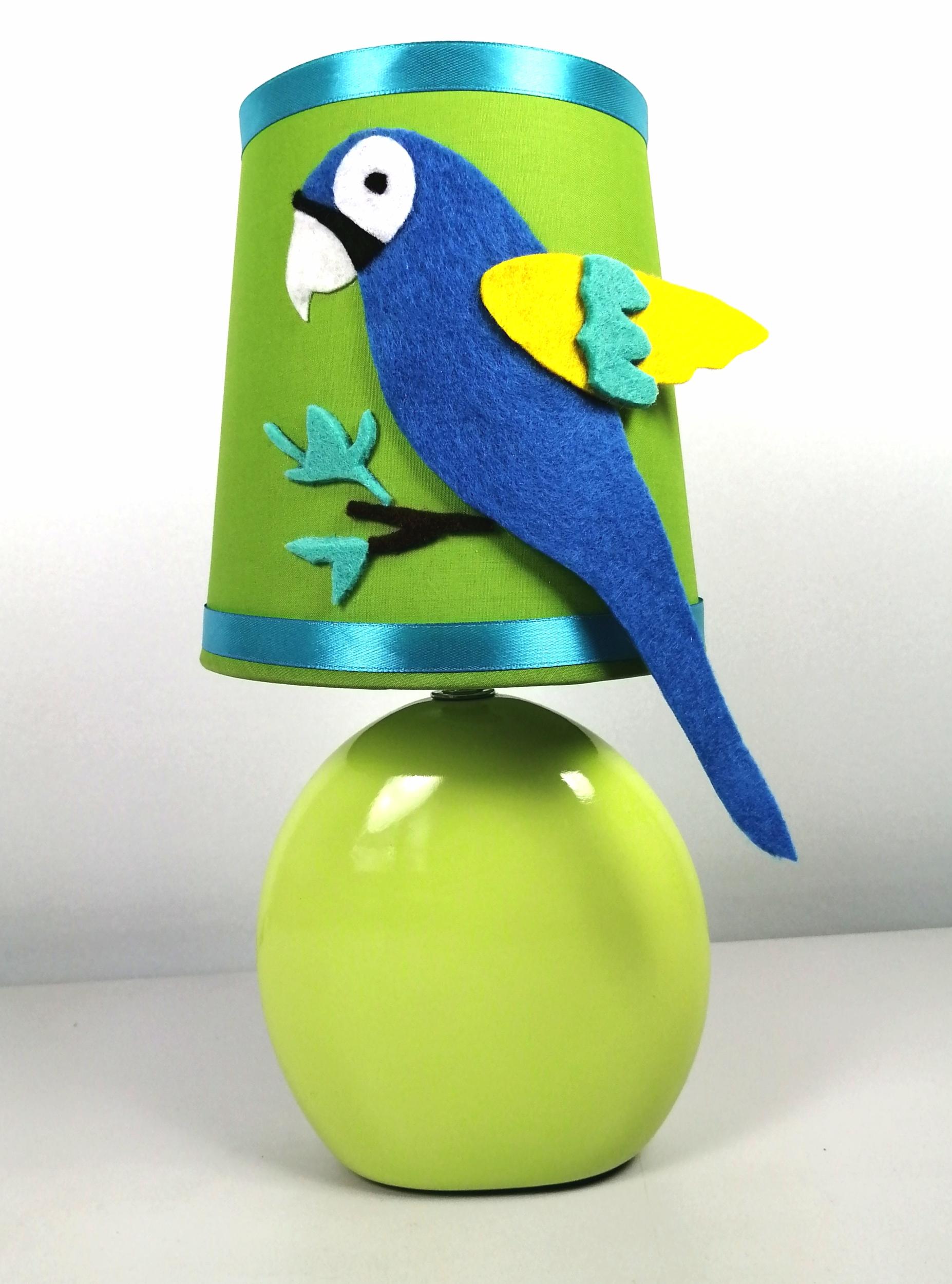 Lampe chevet enfant bébé jungle vert anis bleu turquoise perroquet safari cadeau