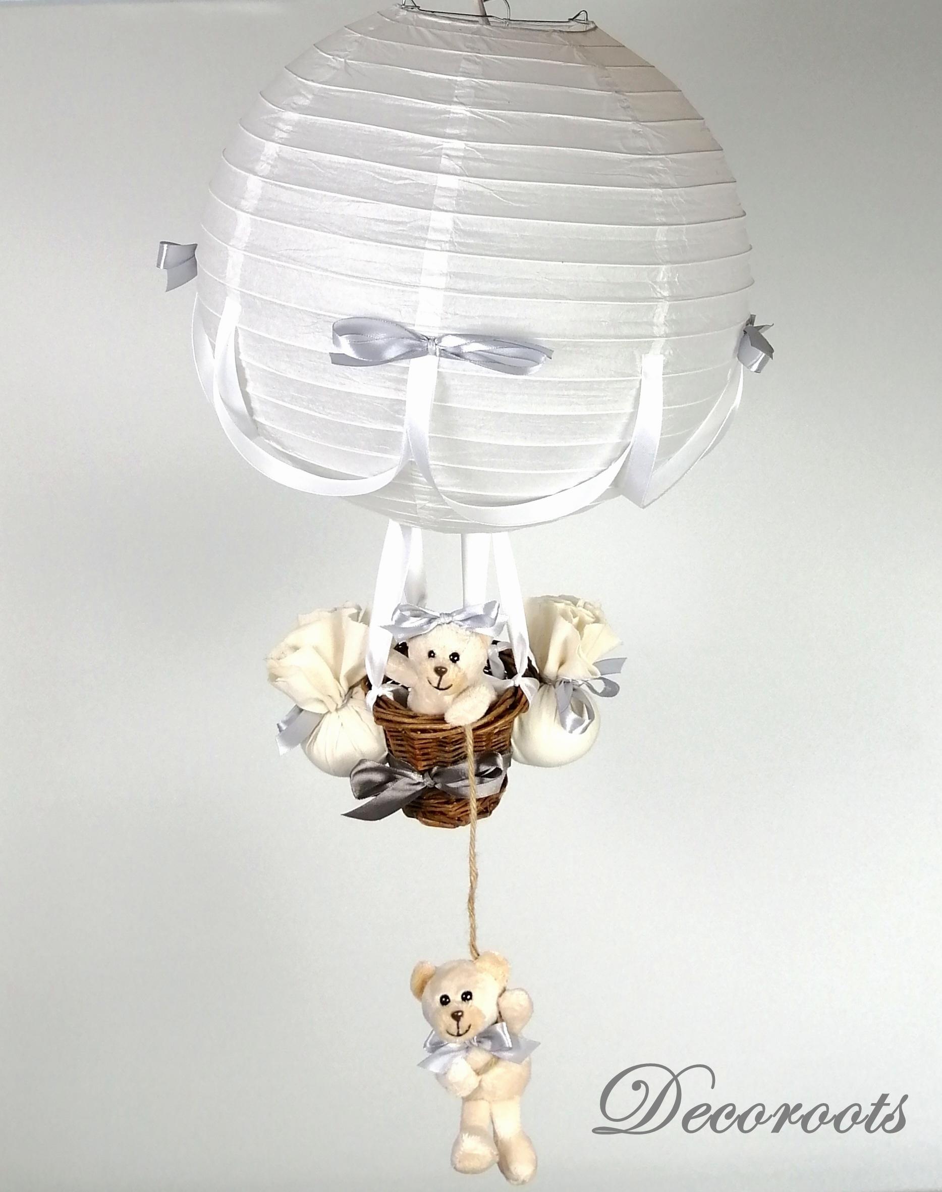 lampe montgolfière blanc gris beige mixte décoration enfant