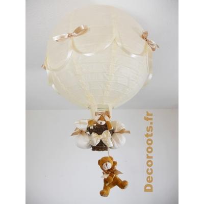 Lampe montgolfière  beige ivoire marron noisette.