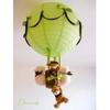 lampe montgolfière enfant bébé ours et oursonne vert anis et marron chocolat lustre suspension brun
