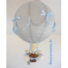 lampe montgolfière bébé lapin gris et bleu ciel pastel