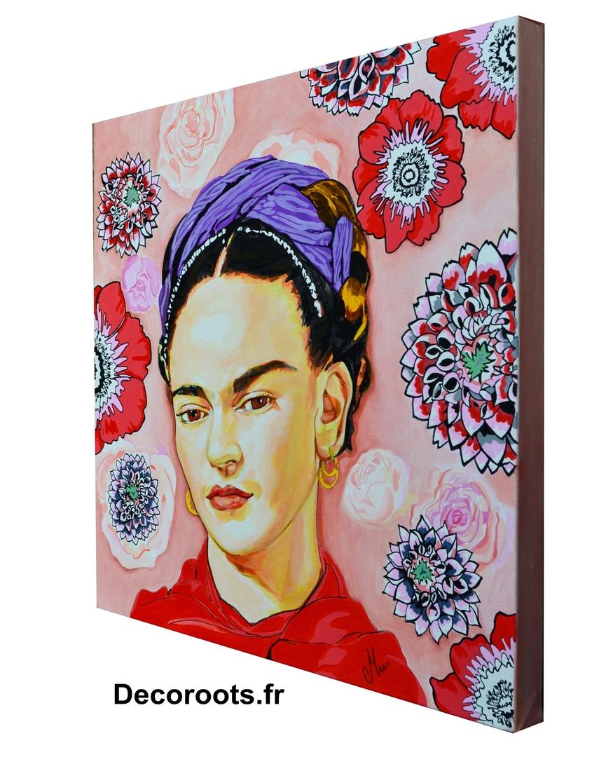 tableau portrait de Frida Kalho - Art design contemporain/Tableau art design abstrait et ...