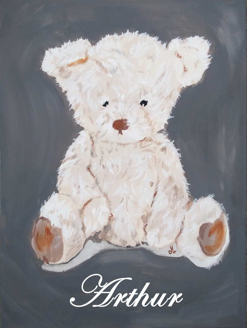 tableau d co enfant ours personnalisable pr nom gris enfant b b tableau enfant b b decoroots. Black Bedroom Furniture Sets. Home Design Ideas