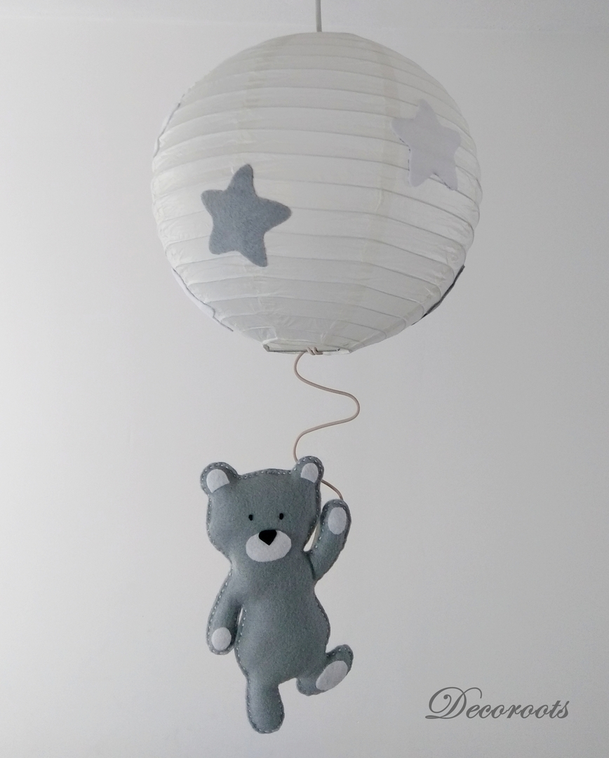 Lustre suspension ours tom gris blanc enfant b b for Suspension pour chambre bebe