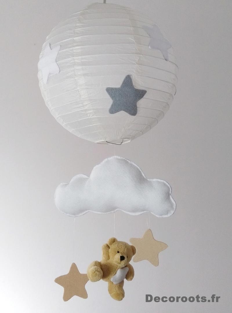 Lustre suspension ours et nuage beige gris blanc mixte for Abat jour chambre bebe garcon