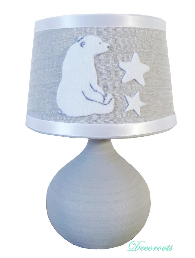 lampe de chevet ours polaire gris blanc enfant b b. Black Bedroom Furniture Sets. Home Design Ideas