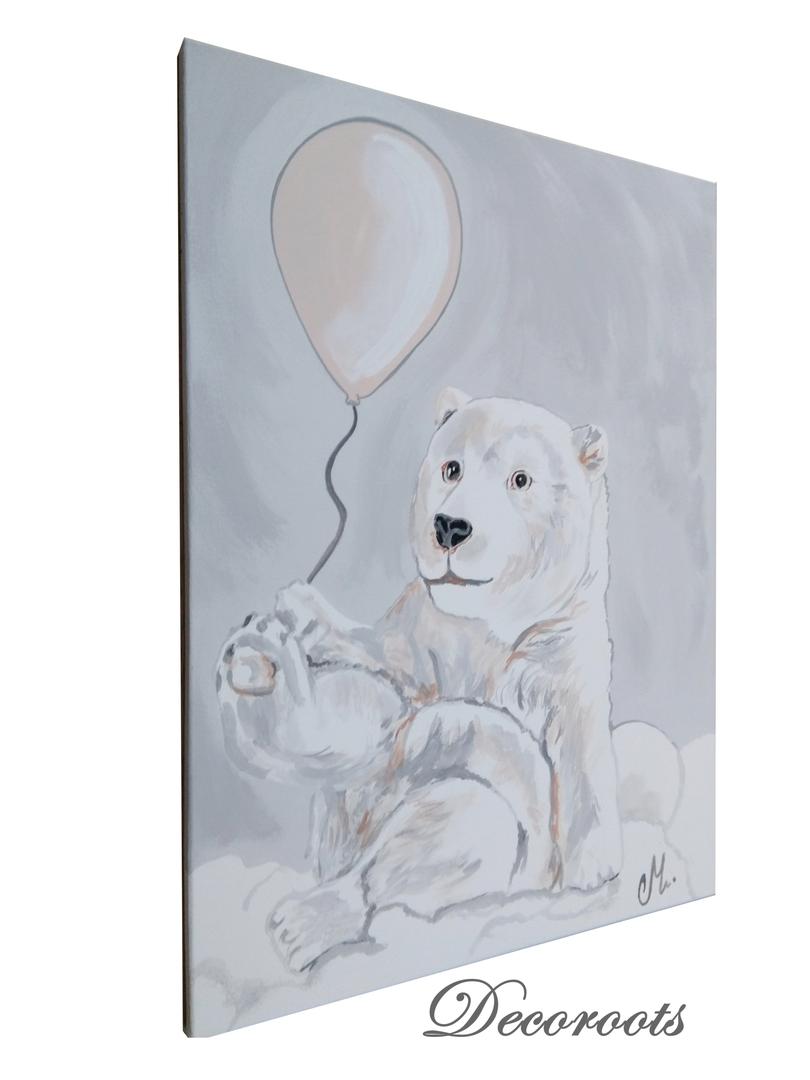 tableau enfant b b ours polaire dans les nuages enfant. Black Bedroom Furniture Sets. Home Design Ideas