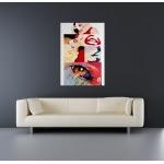 tableau design vintage rouge grand format pin up
