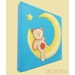 tableau enfant bébé ours sur la lune bleu profil
