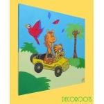 tableau enfant bébé girafe et tigre thème jungle profil