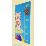 toise bébé ours bleu et beige profil