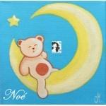 tableau enfant bébé ours sur la lune bleu