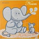 tableau enfant bébé éléphant et souris orange et gris