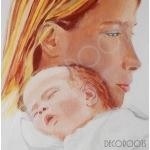 Tableau mère et son enfant bébé zoom