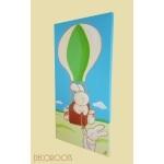 tableau enfant bébé lapin en montgolfière profil