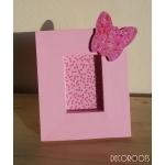 cadre photo enfant bébé fille en bois thème papillon rose