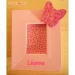 cadre photo enfant bébé fille en bois thème papillon rose 2