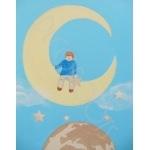 tableau enfant bébé de la terre à la lune poétique enfant sur la lune garçon bleu décoration