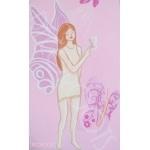 toise enfant bébé fille envol de papillons fée rose  gris aimant photo décoration