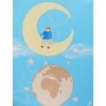 tableau enfant bébé de la terre à la lune poétique enfant sur la lune garçon bleu