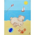 tableau enfant bébé garçon ours à la plage mer