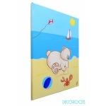 tableau enfant bébé garçon ours à la plage mer décoration