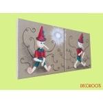 tableau enfant bébé pinocchio pantin bois jouet dantan dautrefois fée décoration
