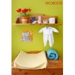 tableau enfant bébé éléphant souris gris et orange thème jungle savane brousse