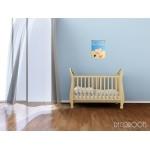 tableau enfant bébé ours à la plage thème mer beige bleu garçon