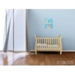 tableau enfant bébé garçon sur la lune collection de la terre à la lune bleu jaune étoiles marron