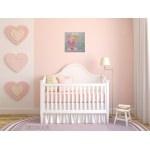 tableau enfant bébé fée poupée lilou et son chat magicienne étoile gris rose