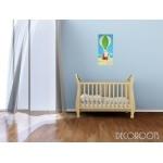 tableau enfant bébé lapin en montgolfière bleu et vert beige garçon marron