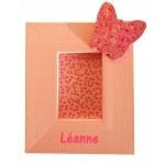 cadre photo enfant bébé fille en bois thème papillon rose 2 22 personnalisé
