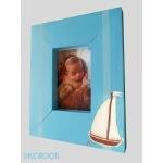 cadre photo en bois thème bord de mer décoration enfant bébé voilier bateau bleu rayure 2