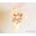 lampe enfant bébé montgolfière suspension lustre luminaire mouton rose beige fille nature décoration