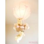 lampe enfant bébé montgolfière suspension lustre luminaire mouton rose beige fille nature décoration allumée