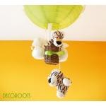lampe enfant bébé montgolfière suspension lustre luminaire thème jungle savane brousse safari tigre vert anis et beige zoom