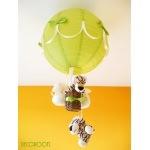 lampe enfant bébé montgolfière suspension lustre luminaire thème jungle savane brousse safari tigre vert anis et beige