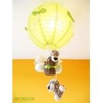 lampe enfant bébé montgolfière suspension lustre luminaire thème jungle savane brousse safari tigre vert anis et beige allumée