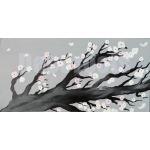 tableau cerisier en fleurs nature zen gris blanc noir 17