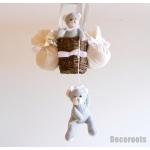 lampe montgolfière enfant bébé lustre suspensionours et oursonne gris et blanc mixte fille garçon décoration